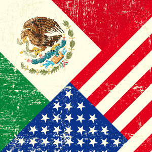 United States and Mexican Flags